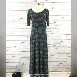 LuLaRoe Ana Maxi Dress Purple with Green Floral